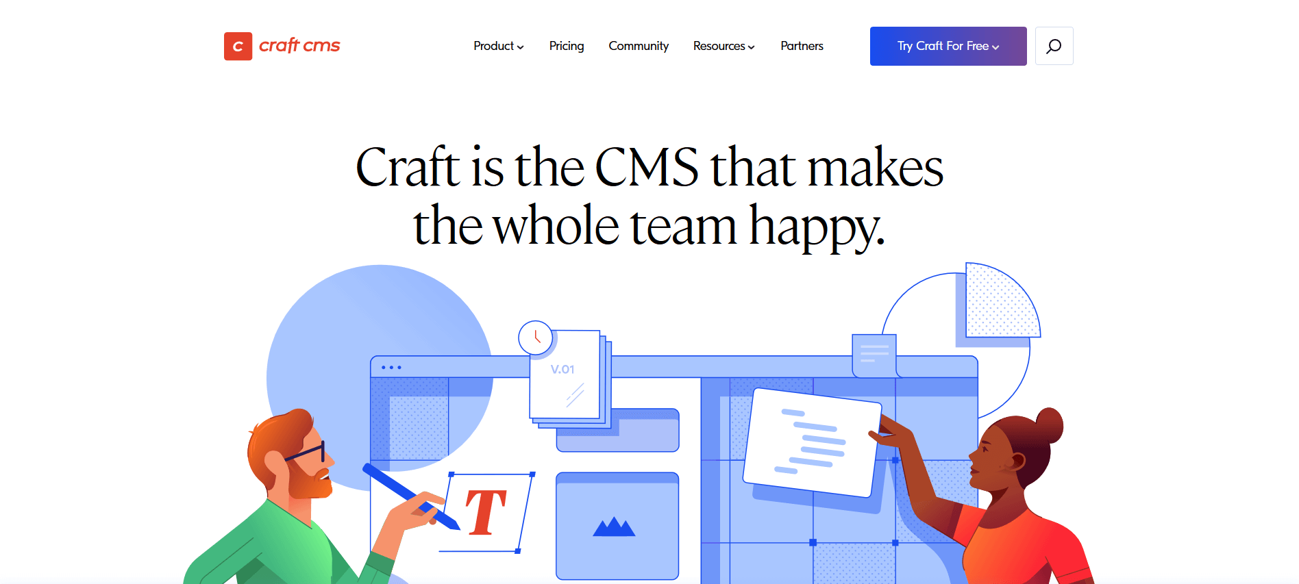 The homepage of the Craft project