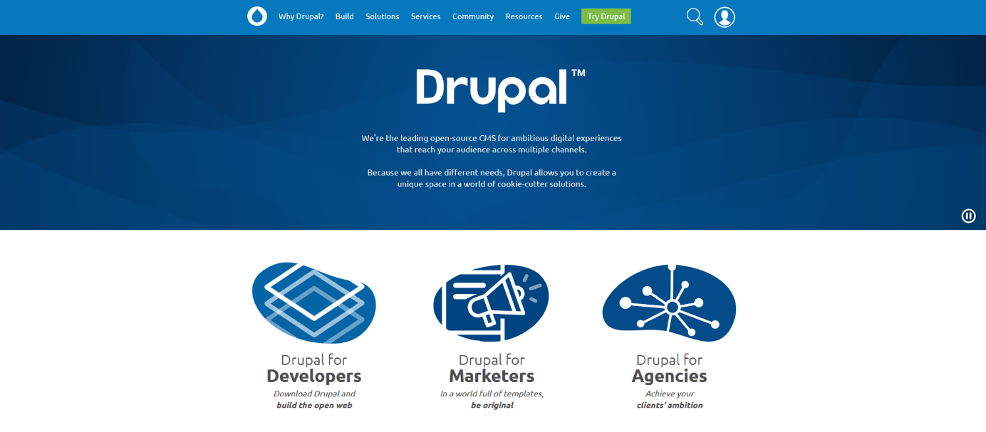 The homepage of the Drupal project