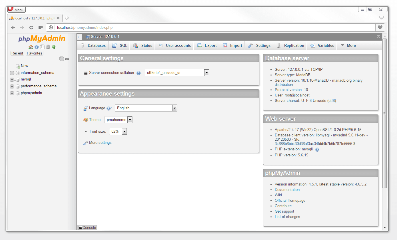 Learn mysql in simple steps 11 homepage of the mysql administration software phpmyadmin baditri Image collections