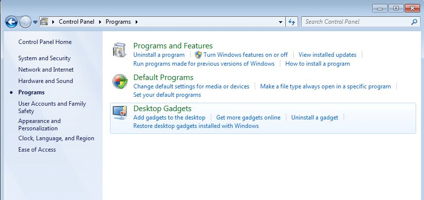 Control Panel in Windows 7: Programs and Features