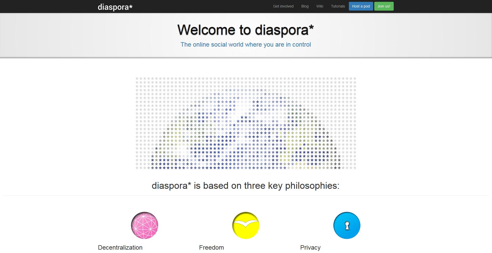 Homepage for the online platform Diaspora