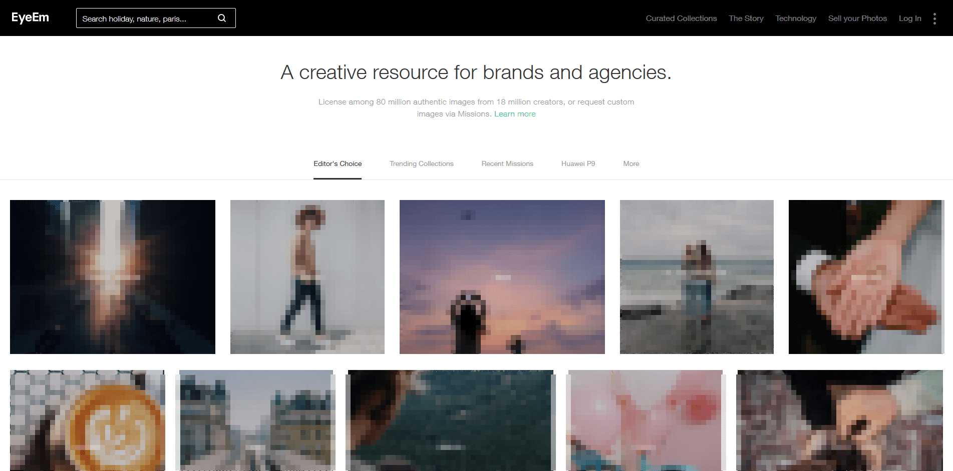 Homepage for the EyeEm browser website