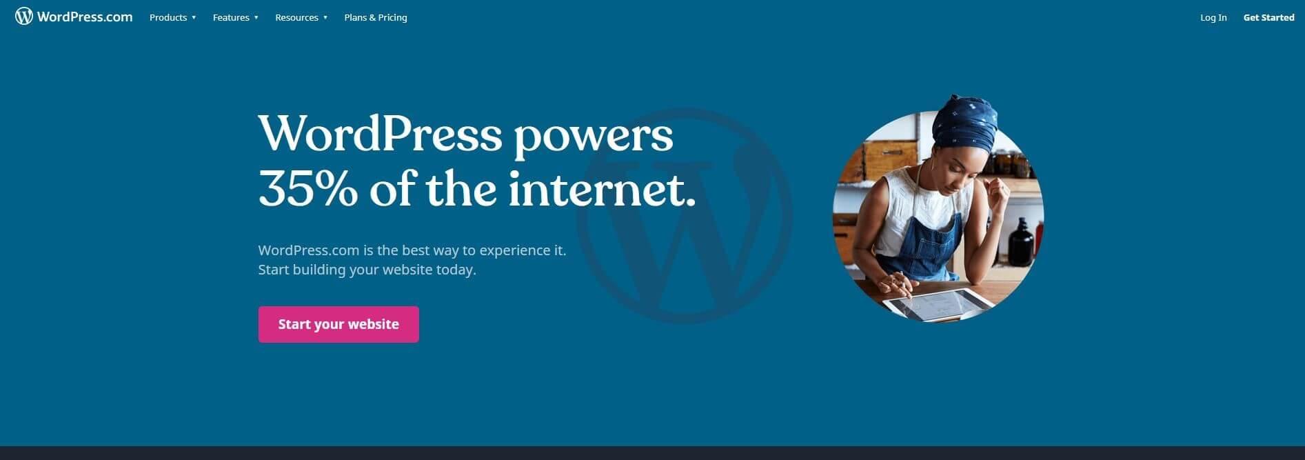 Homepage of WordPress