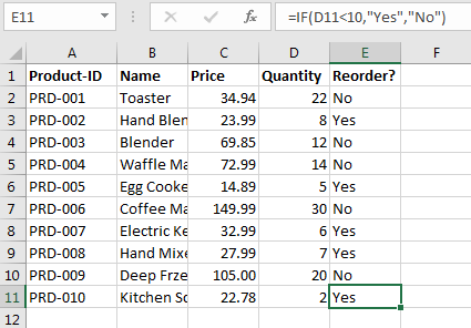 Excel if-then statements: Formula simply explained with