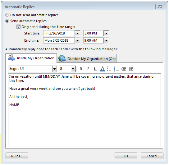 Here´s how to set up an out-of-office message in Outlook - 1&1 IONOS