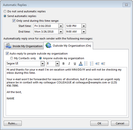 out of office message in outlook 2019