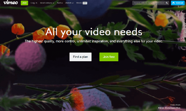 Screenshot of Vimeo's on-demand site