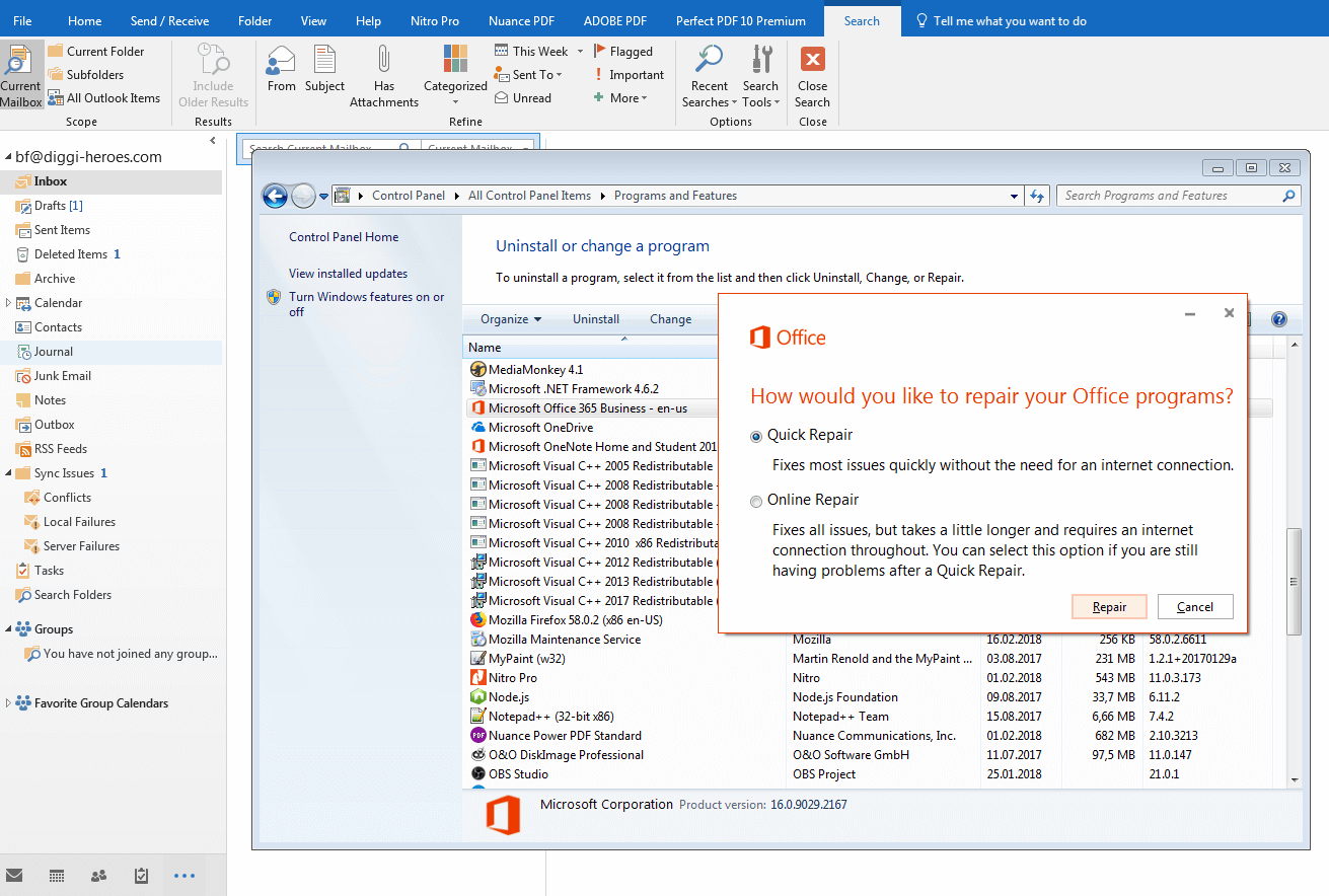 Outlook search function not working: what are the solutions