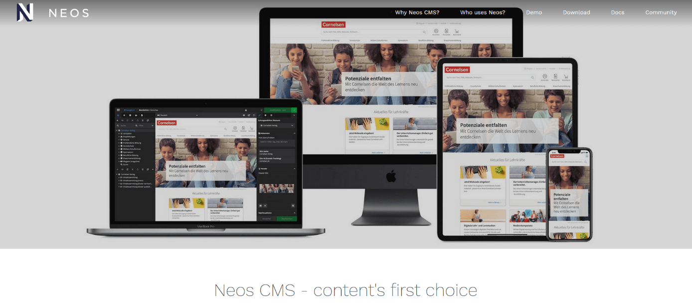 The CMS Neos homepage