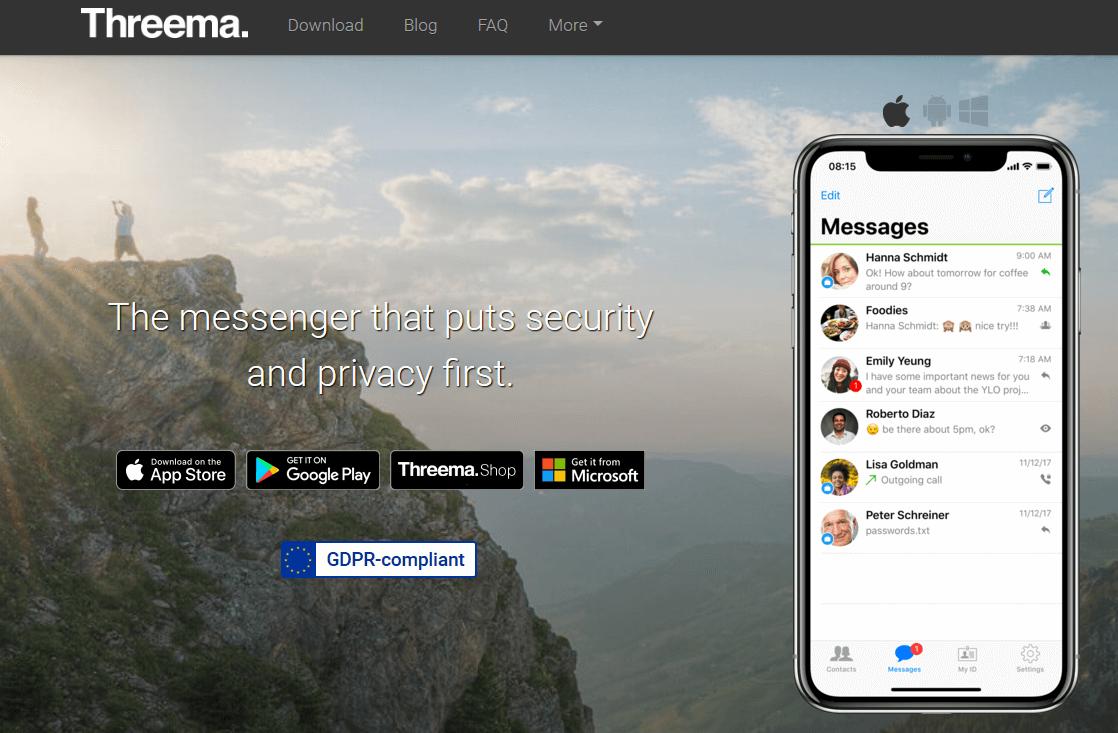 Screenshot of the Threema website