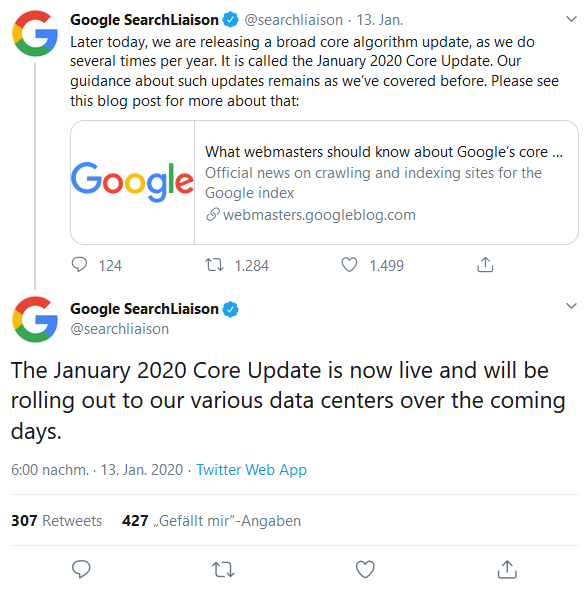 January 2020 Core Update Twitter Post