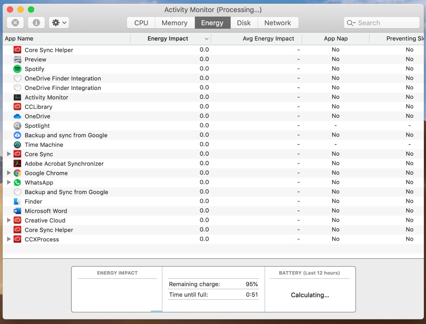 Mac Activity Monitor: Energy pane