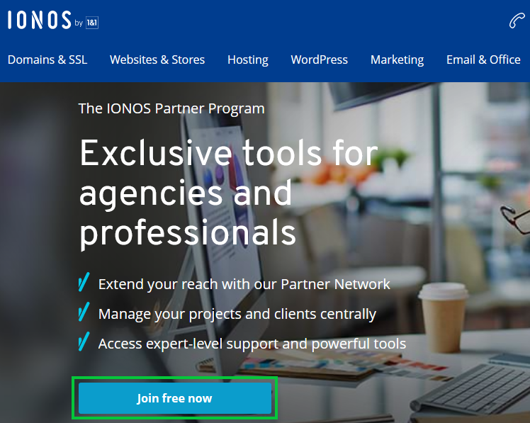 IONOS Partner Program Registration page