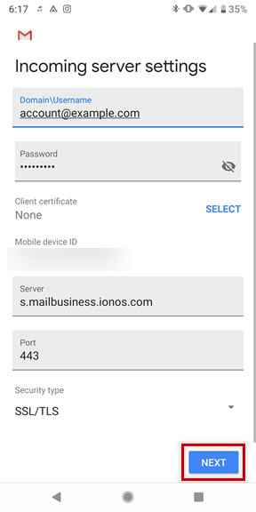 Set Up a Mail Business Account on Android Devices - IONOS Help