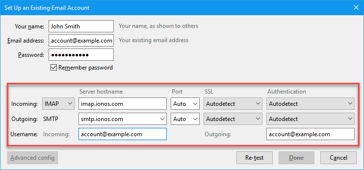 Add a Mail Basic Email Account to Mozilla Thunderbird - 1&1 IONOS Help