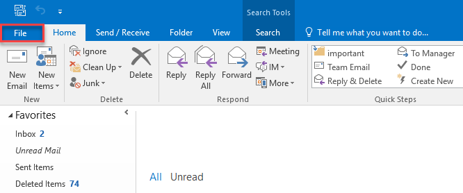 outlook 2016 download all email from server