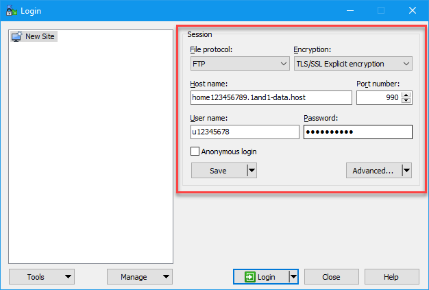 Save connection data for FTPS in WinSCP - 1&1 IONOS Help
