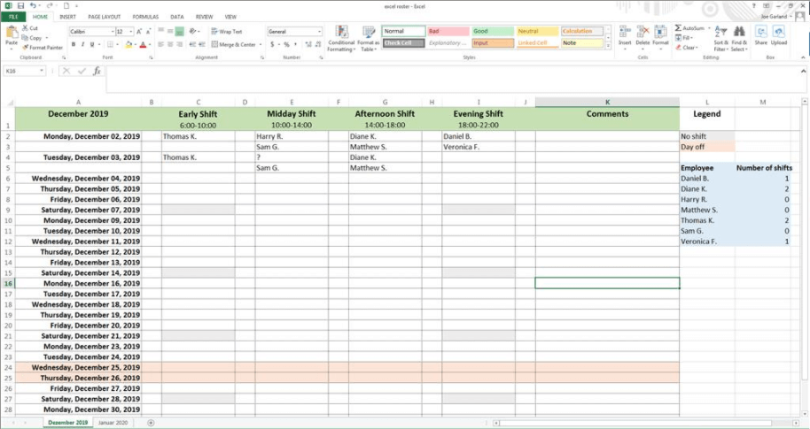 creating a work schedule with excel