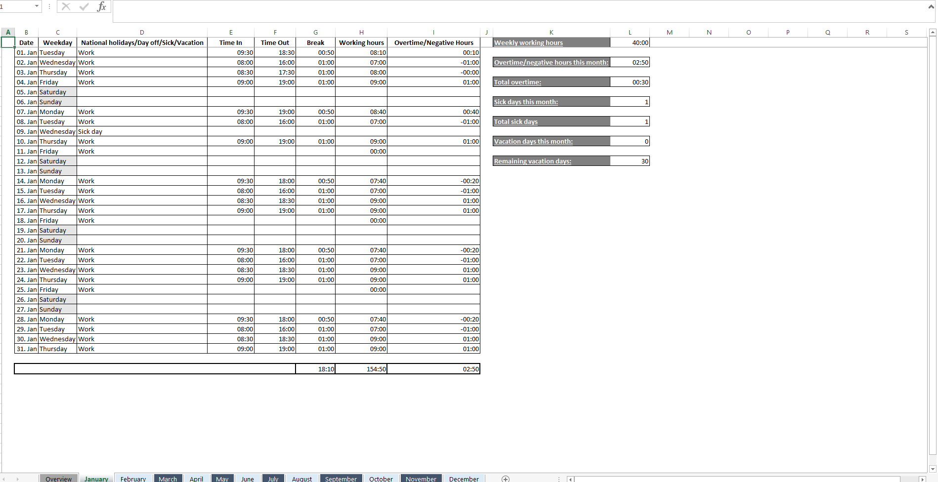 Excel Monthly Timesheet Template With Formulas from www.ionos.com